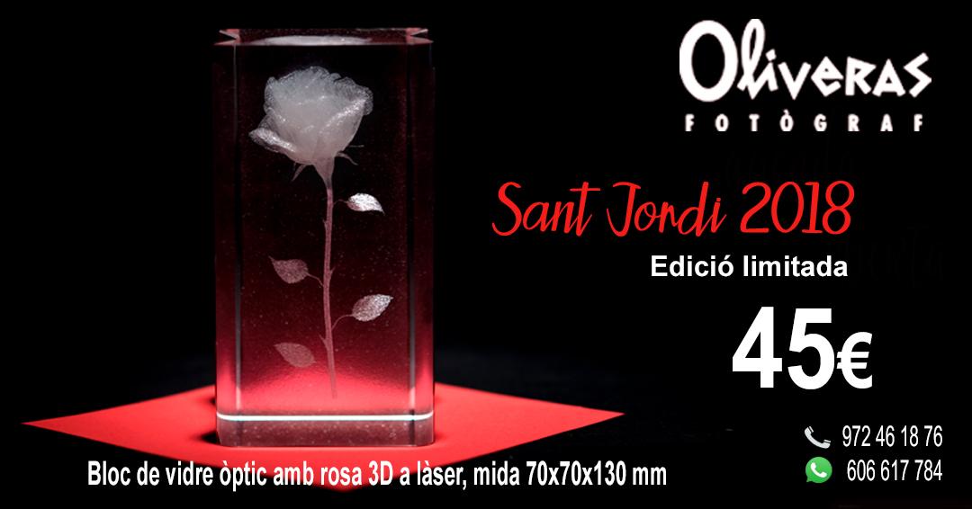 Rosa de Sant Jordi en bloc de vidre òptic en 3D a laser, especial per aquest dia i amb edició limitada a un preu de 45 € Aquest regal és per sempre i no queda pansit.